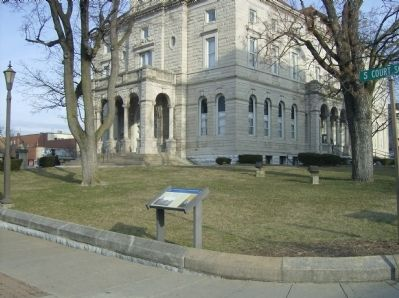 Court Square & Springhouse Marker as seen in front of the modern courthouse Photo, Click for full size