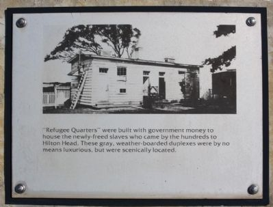 """Robbers Row"" Interpretive Marker , ""Rufugee Quarters"" image. Click for full size."