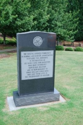 Boiling Springs Veterans Monument image, Click for more information