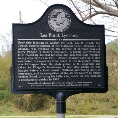 Leo Frank Lynching Marker Photo, Click for full size