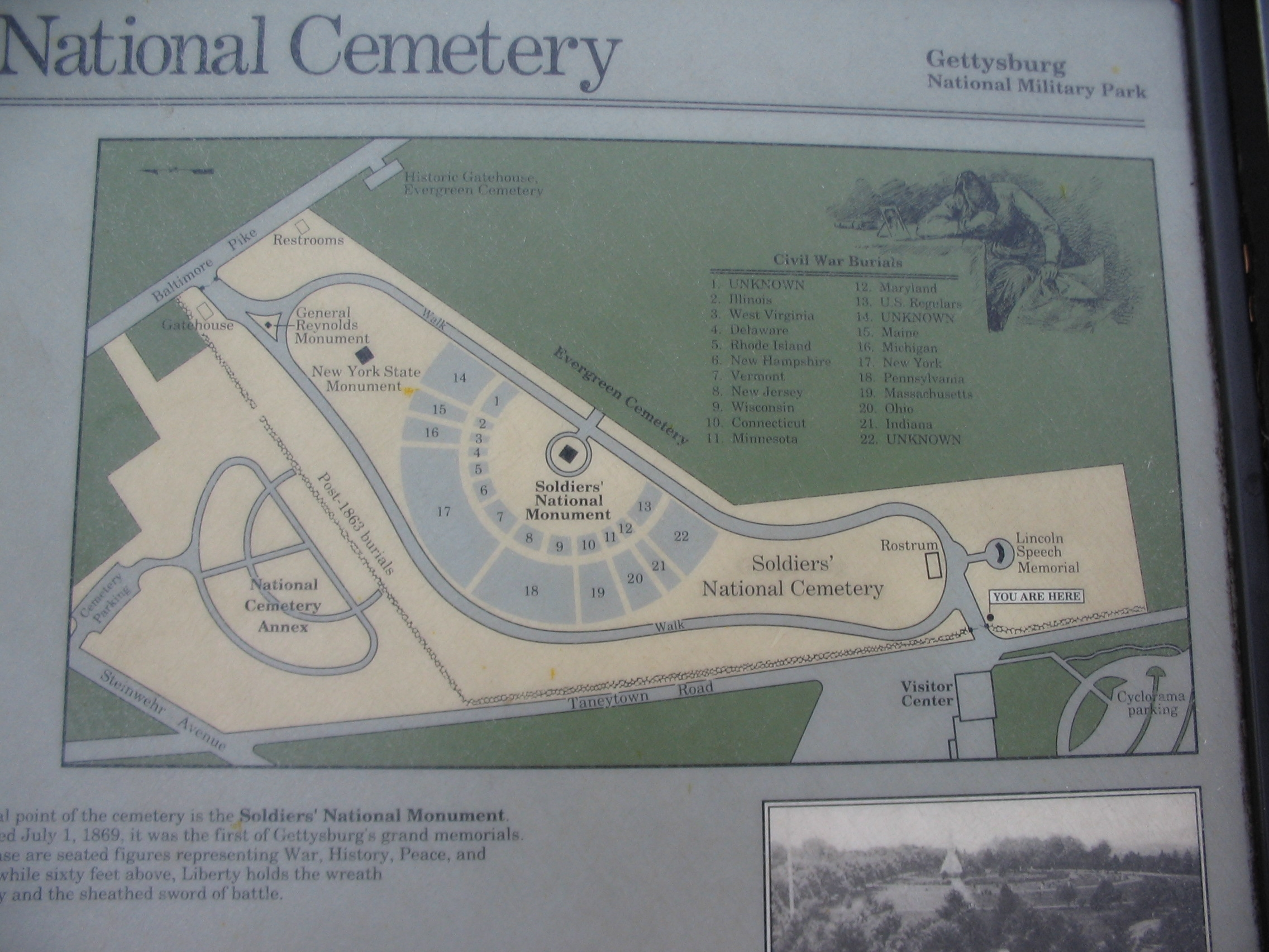 Close Up of Cemetery Map