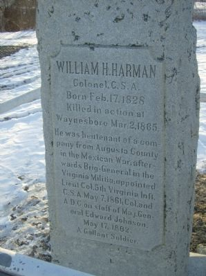 William H. Harman Monument Marker Photo, Click for full size