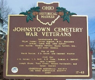 Johnstown Cemetery War Veterans Marker (Side B) image. Click for full size.