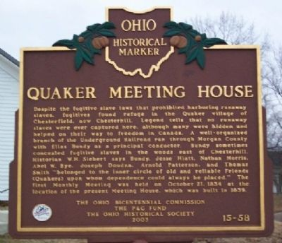 Quaker Meeting House Marker Photo, Click for full size