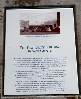 The First Brick Building in Sacramento Marker image. Click for full size.