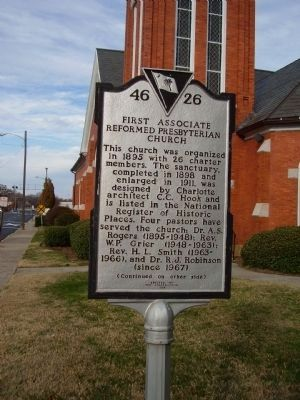 First Associate Reformed Presbyterian Church Marker image. Click for full size.