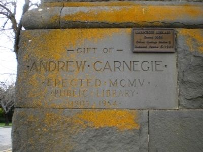 Carnegie Library Dedication Stone Photo, Click for full size