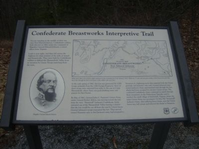 Confederate Breastworks Interpretive Trail Marker image. Click for full size.