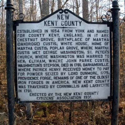 New Kent County Marker Photo, Click for full size