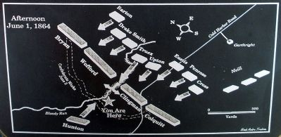 Map showing the avenue of attack through the ravine. Photo, Click for full size