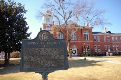 Gwinnett County Marker and the Old Gwinnett County Courthouse Photo, Click for full size