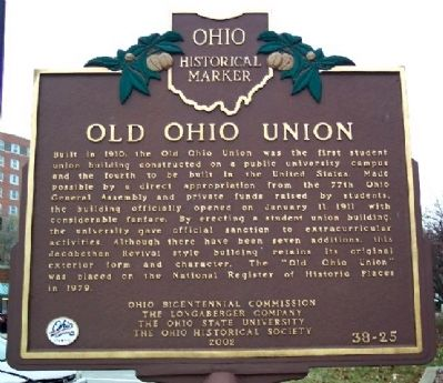 Old Ohio Union Marker image. Click for full size.