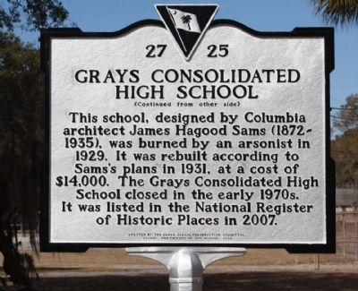 Grays Consolidated High School Marker Reverse side image. Click for full size.