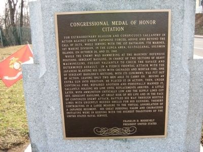 John Basilone Monument - Rear Plaque image. Click for full size.