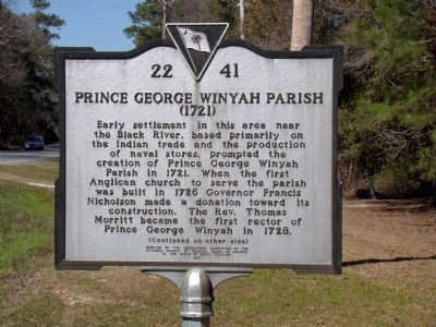 Prince George Winyah Parish Face of Marker Photo, Click for full size