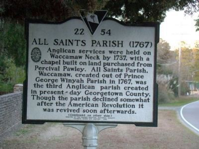 All Saints Parish Face of Marker Photo, Click for full size