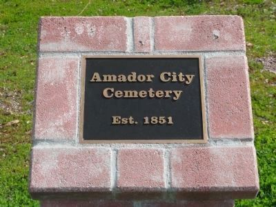 Amador City Cemetery Plaque image. Click for full size.