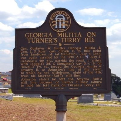 Georgia Militia on Turner's Ferry Road Marker image. Click for full size.