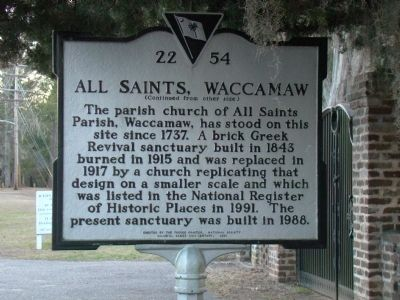 All Saints, Waccamaw Face of Marker Photo, Click for full size