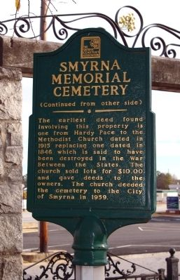 Smyrna Memorial Cemetery Marker, Reverse Side Photo, Click for full size