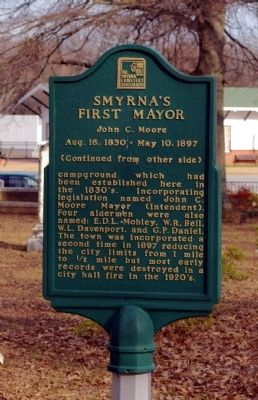 Smyrna's First Mayor Marker - Reverse Side image. Click for full size.