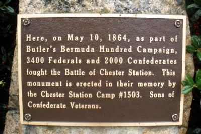 Battle of Chester Station SCV Marker image. Click for full size.