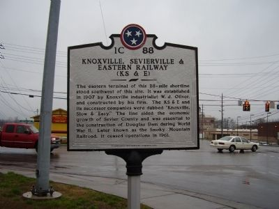 Knoxville, Sevierville & Eastern Railway Marker image. Click for full size.
