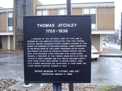 Thomas Atchley Marker image. Click for full size.