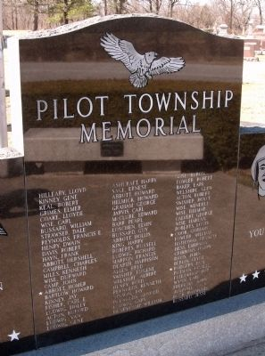 Pilot Township (War) Memorial Marker - Center Section Photo, Click for full size