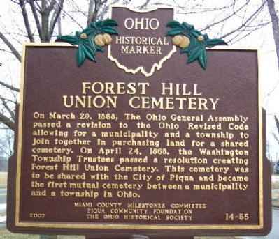 Forest Hill Union Cemetery Marker Photo, Click for full size