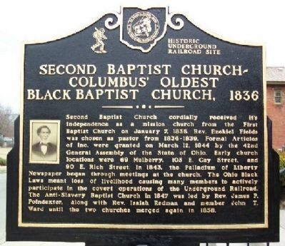 Second Baptist Church - Columbus' Oldest Black Baptist Church Marker (Side A) image. Click for full size.