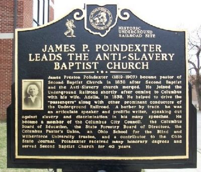 James P. Poindexter Leads the Anti-Slavery Baptist Church Marker (Side B) image. Click for full size.