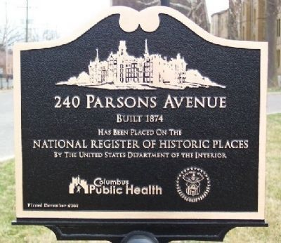 240 Parsons Avenue Marker Photo, Click for full size