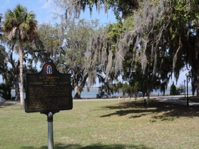 M.E. Thompson and the Purchase of Jekyll Island Marker, along Riverview Dr . beside Jekyll River image. Click for full size.