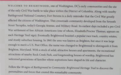 """Battleground to Community: Brightwood Heritage Trail"" image. Click for full size."