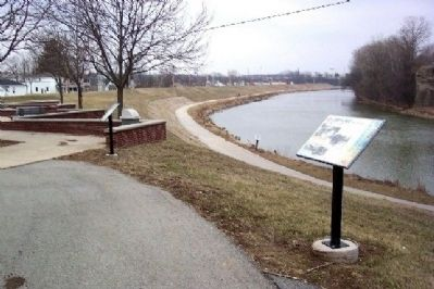 The 1913 Flood Marker in Lock Nine Riverfront Park image. Click for full size.