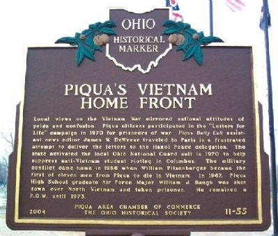 Piqua's Vietnam Home Front Marker (Side A) Photo, Click for full size