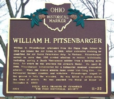 William H. Pitsenbarger Marker (Side B) image. Click for full size.