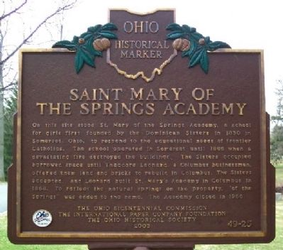 Saint Mary of the Springs Academy Marker (Side A) Photo, Click for full size