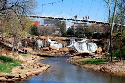 Upper Reedy River Falls -<br>Spanned by Liberty Bridge image. Click for full size.