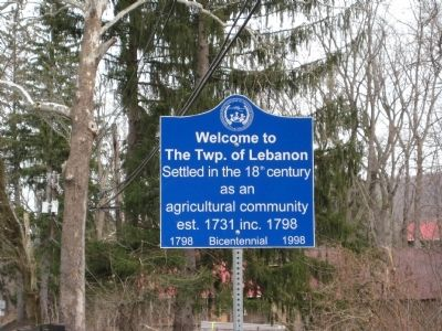 Welcome To The Twp. Of Lebanon Marker image. Click for full size.