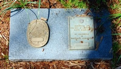 National Register Medallion (Left)<br>City Restoration Marker (Right)<br>Located Near Falls Cottage image. Click for full size.
