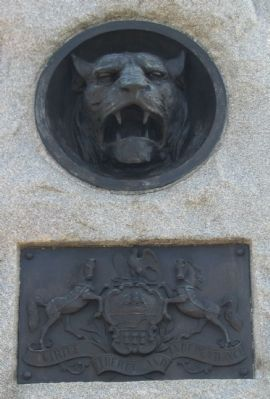 Close Up of Wildcat and State Coat of Arms Photo, Click for full size