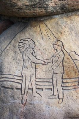 Handshake Engraving on Bill Moose Crowfoot Memorial Photo, Click for full size