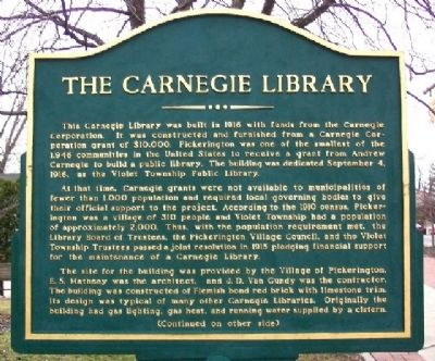 The Carnegie Library Marker (Side A) Photo, Click for full size