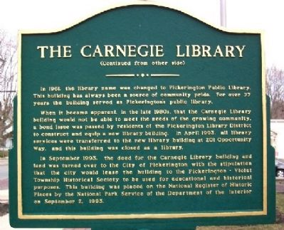 The Carnegie Library Marker (Side B) Photo, Click for full size