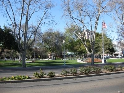 View of Todos Santos Plaza (Marker visible on base of the flagpole) image. Click for full size.