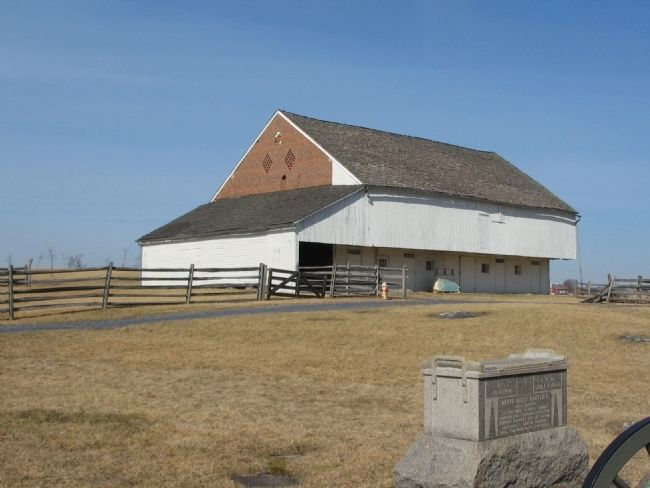 Monument and Trostle Barn image. Click for full size.