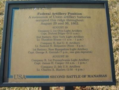 Federal Artillery Position Marker Photo, Click for full size
