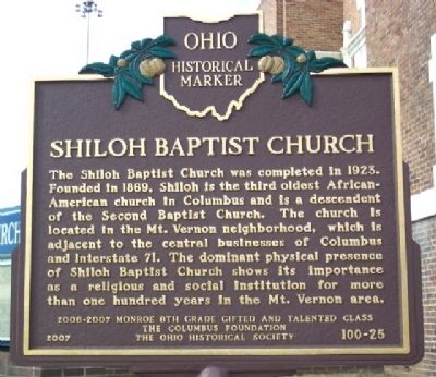 Shiloh Baptist Church Marker Photo, Click for full size